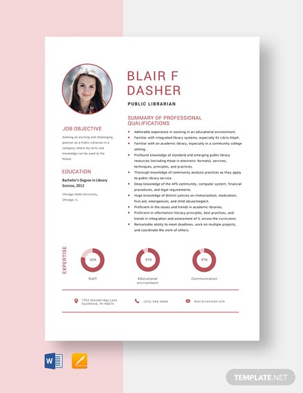Public Librarian Resume Template