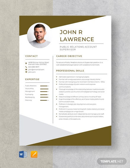 Public Relations Account Supervisor Resume Template
