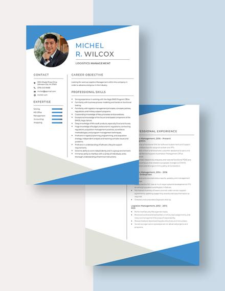 Logistics Management Resume Download