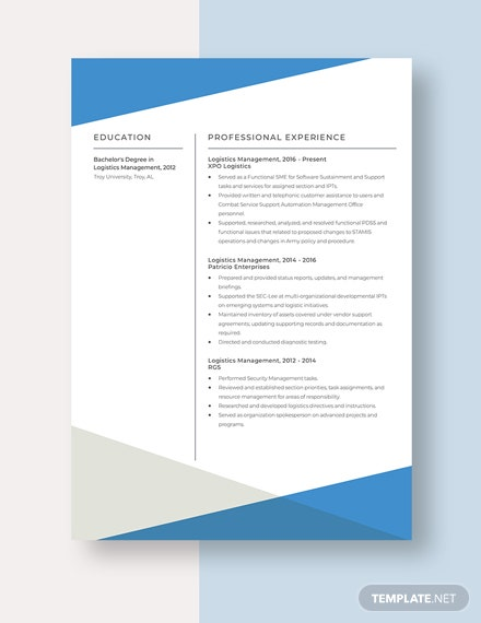 Logistics Management Resume Template