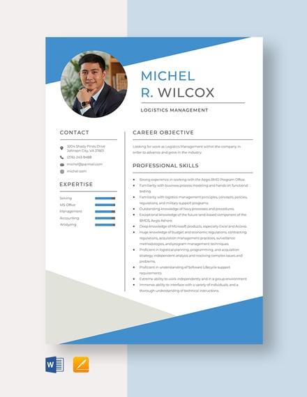 Logistics Management Resume