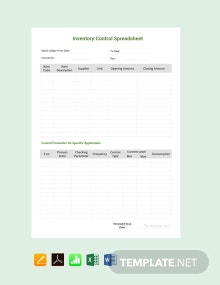 Free Sample Inventory Control Spreadsheet Template