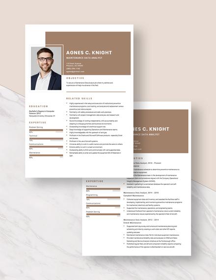 Maintenance Data Analyst Resume Download