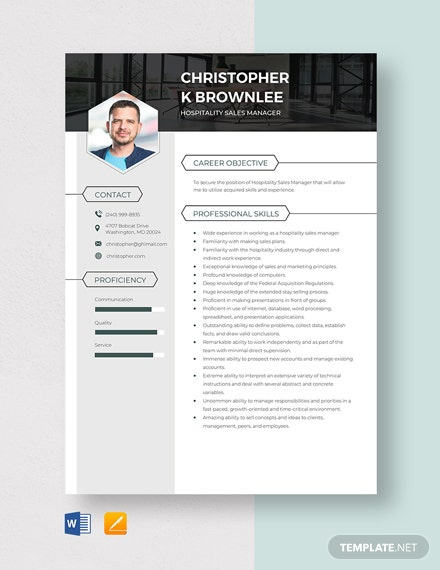Hospitality Sales Manager Resume Template