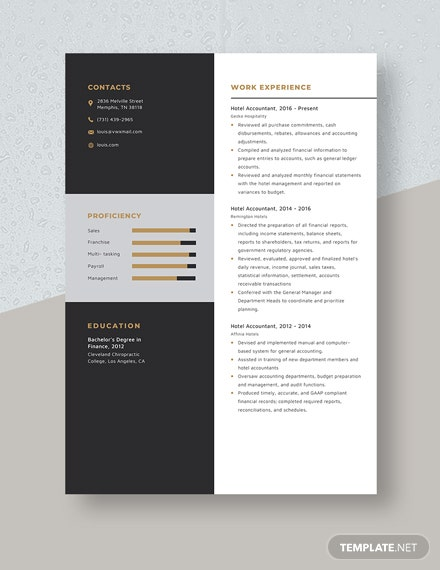 Hotel Accountant Resume Template