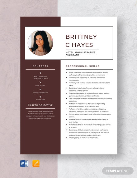 Hotel Administrative Assistant Resume Template