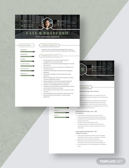 Hotel Assistant Manager Resume Download