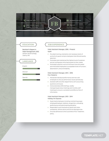 Hotel Assistant Manager Resume Template