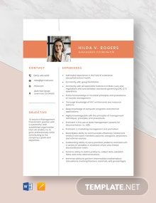 Management Coordinator Resume Template