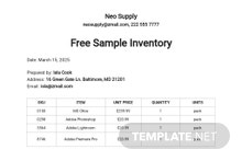Free Sample Inventory Spreadsheet Template