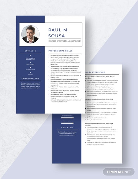 Manager of Network Administration Resume Download