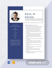 Manager of Network Administration Resume Template