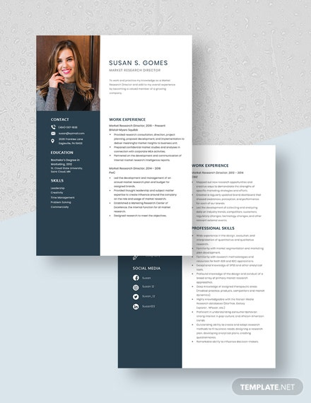 Market Research Director Resume Template [Free Pages] - Word, Apple Pages