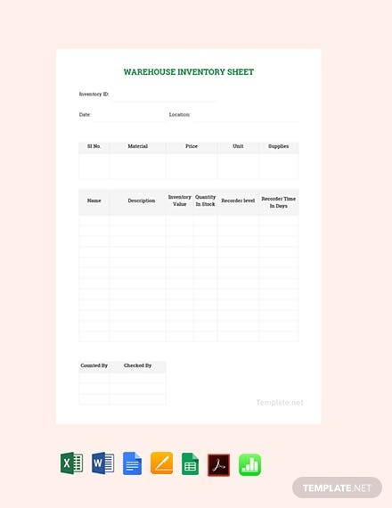Free Sample Warehouse Management Spreadsheet Template