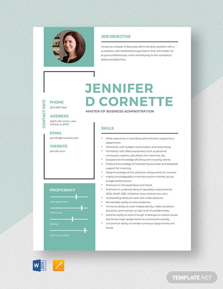 Master of Business Administration Resume Template