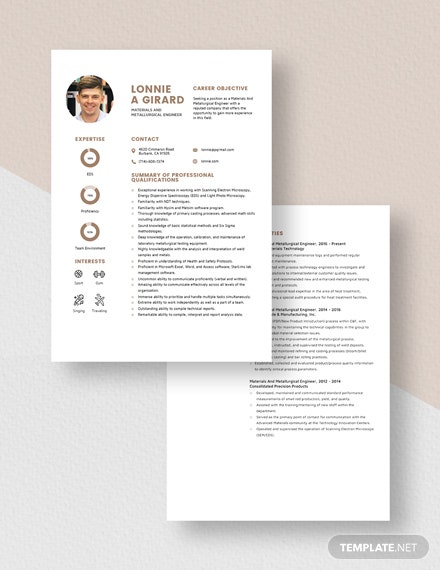 Materials And Metallurgical Engineer Resume Download