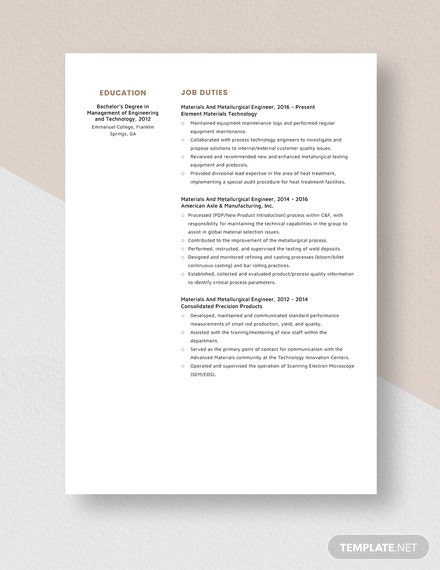 Materials And Metallurgical Engineer Resume Template