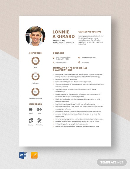 Materials And Metallurgical Engineer Resume