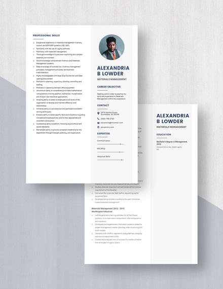 Materials Management Resume Download