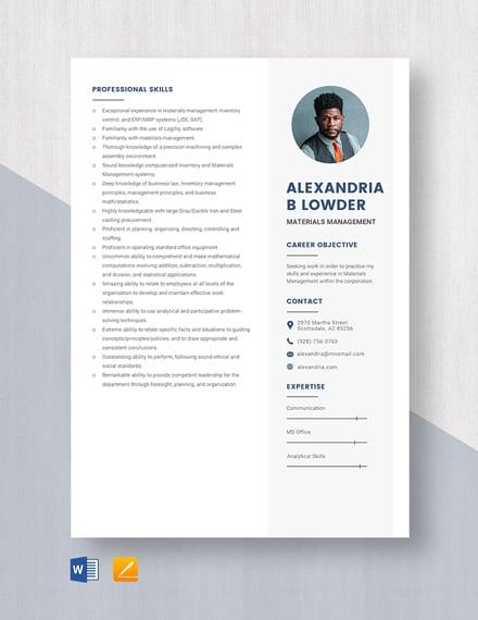 Materials Management Resume