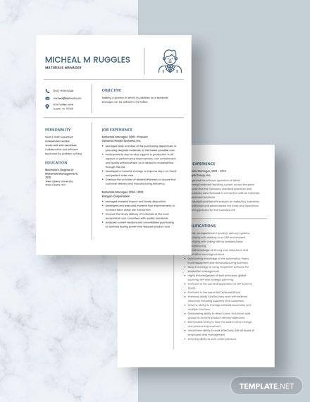 Materials Manager Resume Download