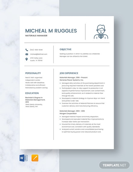 Materials Manager Resume
