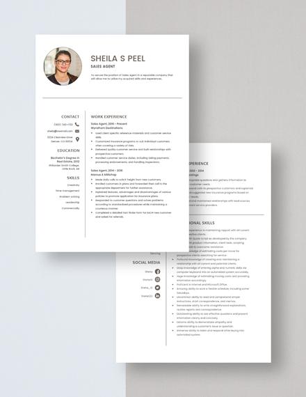 Sales Agent Resume Download