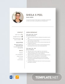 Sales Agent Resume Template