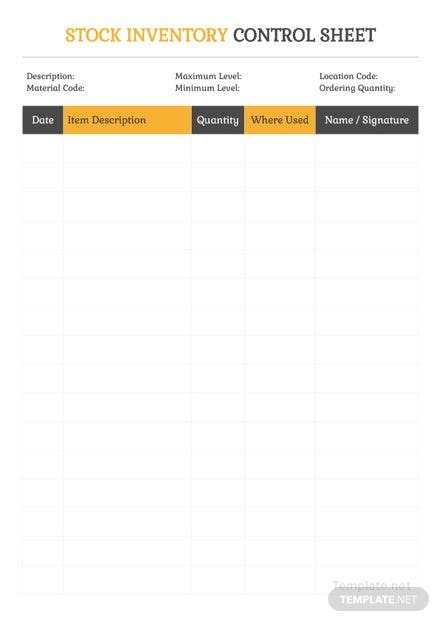 Stock Inventory Control Spreadsheet Template