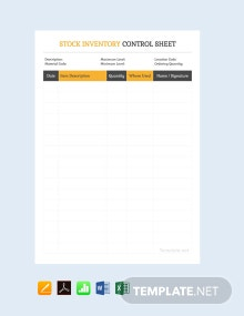 Free Stock Inventory Control Spreadsheet Template