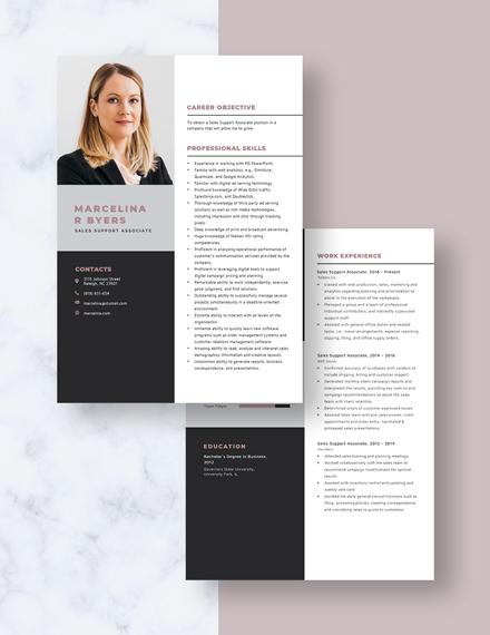 Sales Support Associate Resume Download