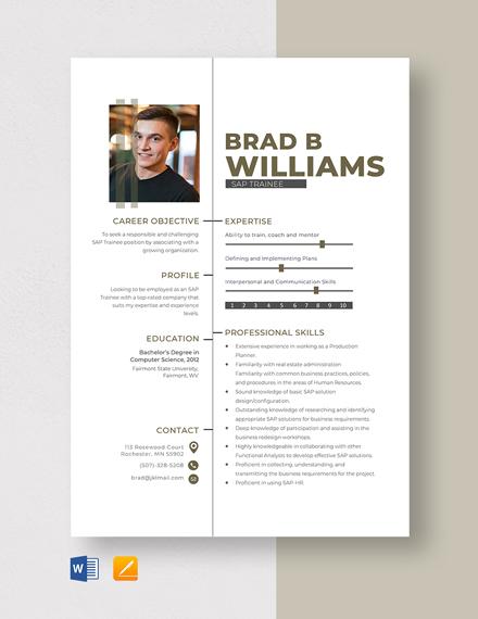 SAP Trainee Resume Template