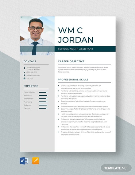 School Admin Assistant Resume Template