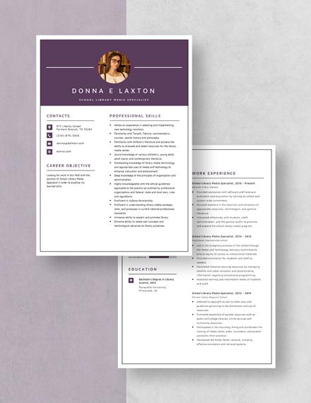 School Library Media Specialist Resume Download