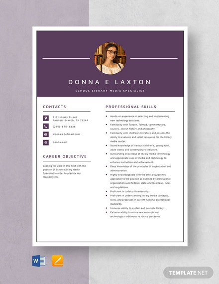 School Library Media Specialist Resume Template