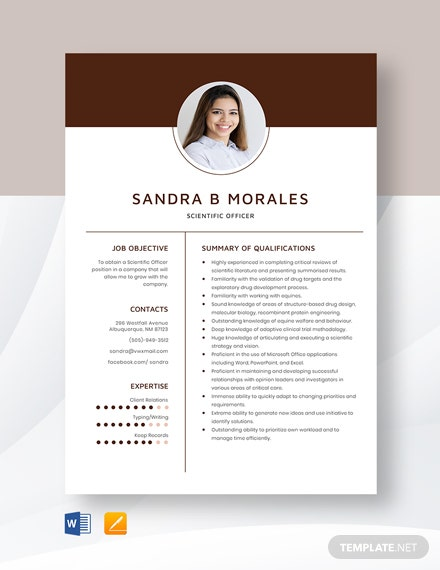 Scientific Officer Resume Template