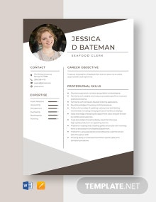 Seafood Clerk Resume Template