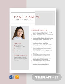 Securities Paralegal Resume Template