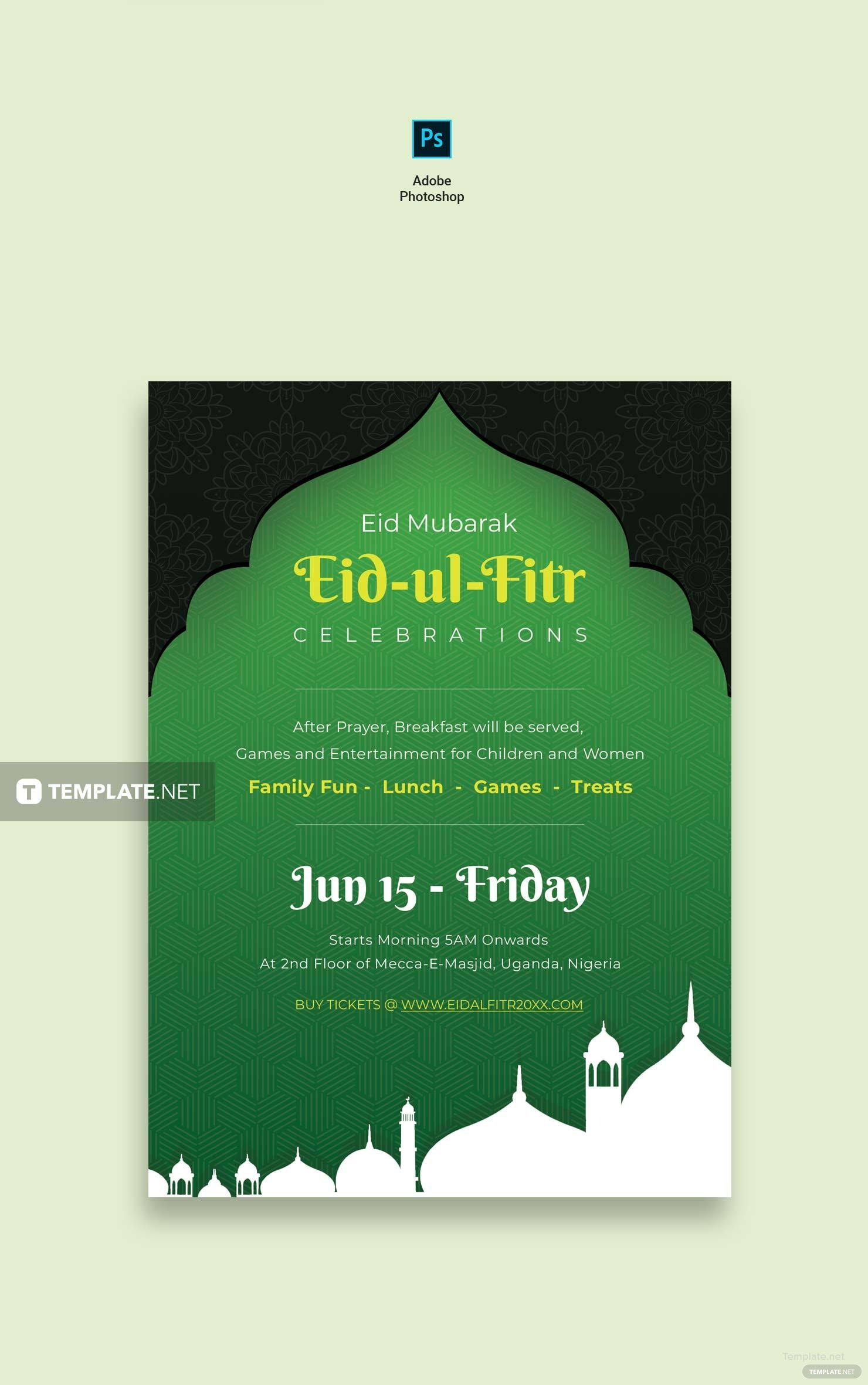 Eid ulFitr Invitation Template in Adobe Photoshop Templatenet