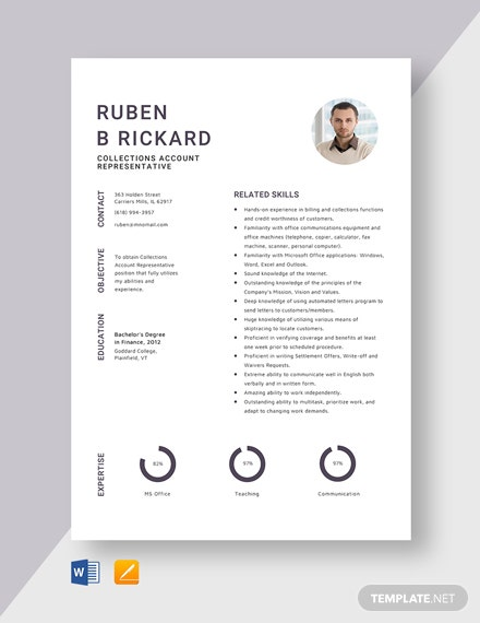 Collections Account Representative Resume Template