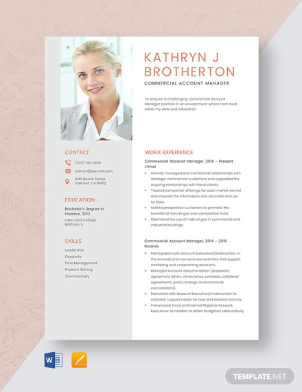 Commercial Account Manager Resume Template