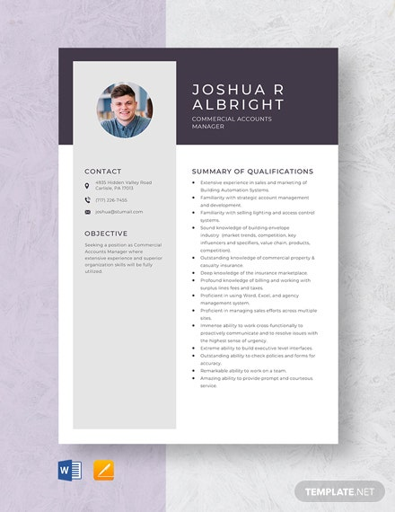Commercial Accounts Manager Resume Template