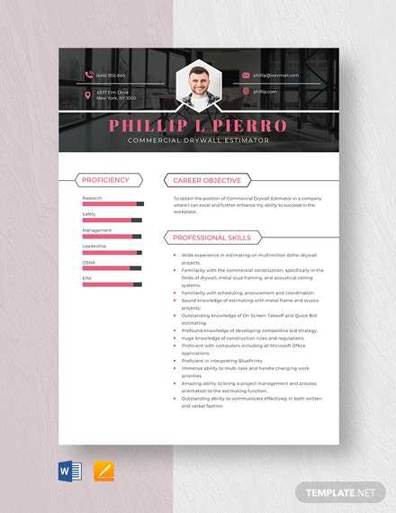 Commercial Drywall Estimator Resume Template