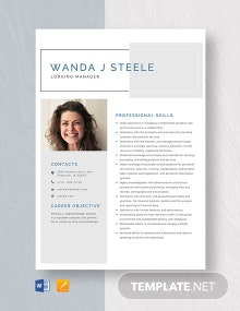 Lodging Manager Resume Template