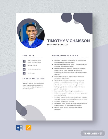 Log Grader and Scaler Resume Template