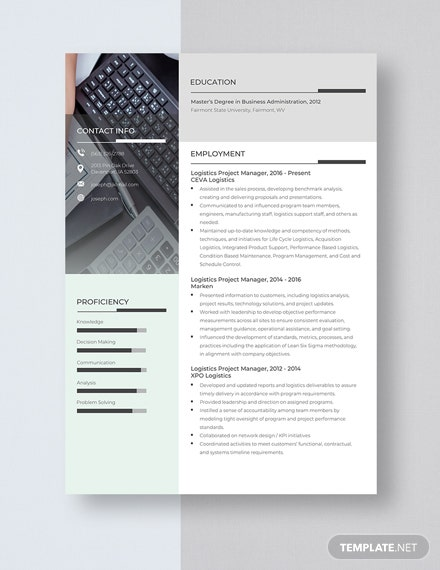 Logistics Project Manager Resume Template