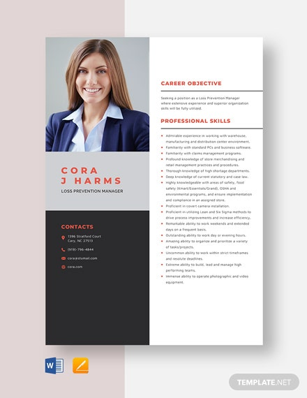 Loss Prevention Manager Resume Template
