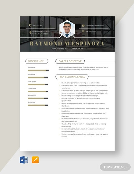 Magazine Art Director Resume Template