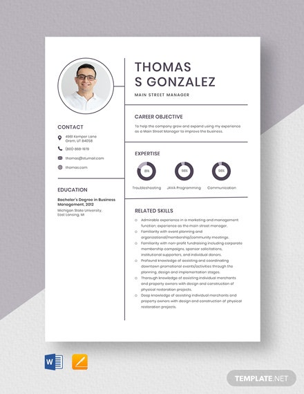 Main Street Manager Resume Template