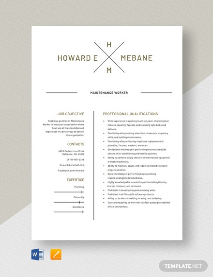 Maintenance Worker Resume Template